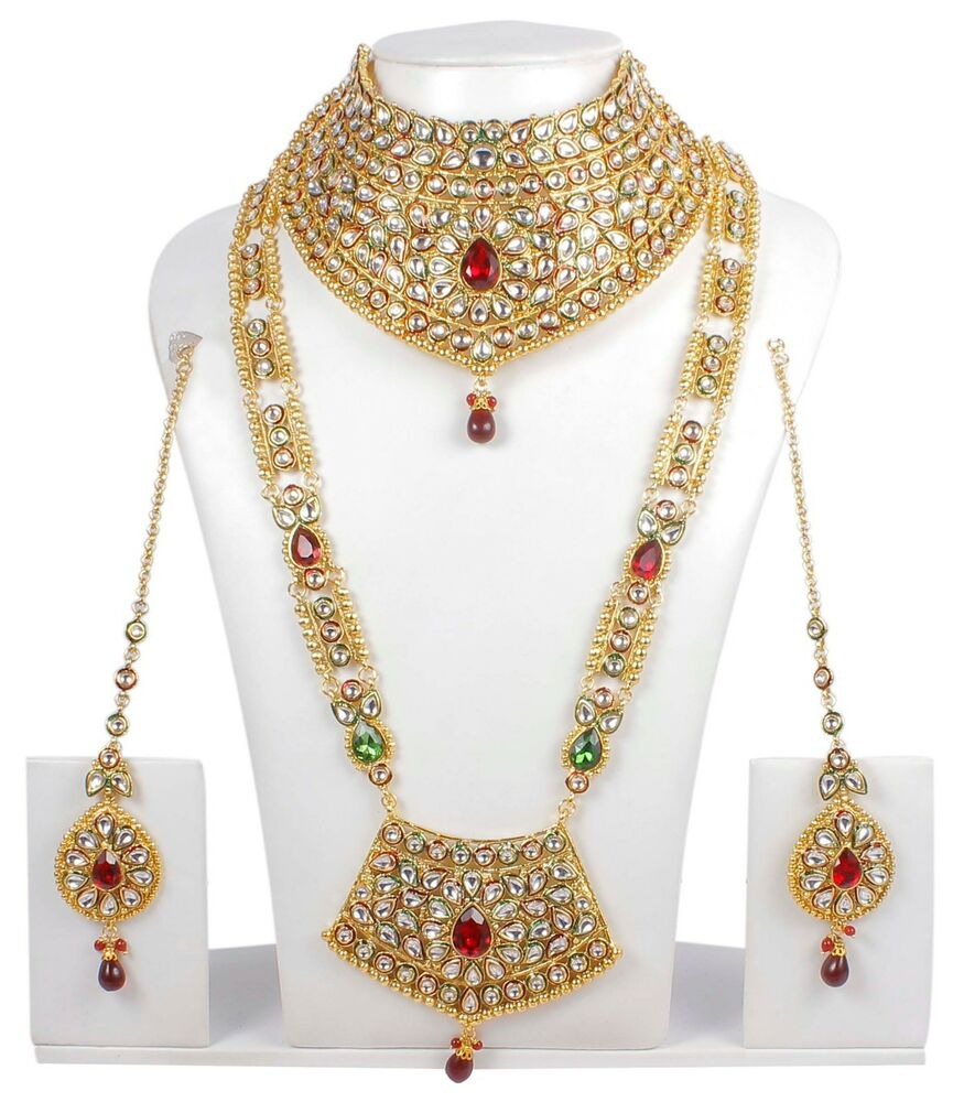 376 Indian Bollywood Style Fashion Gold Plated Bridal Jewelry Necklace Set Ebay