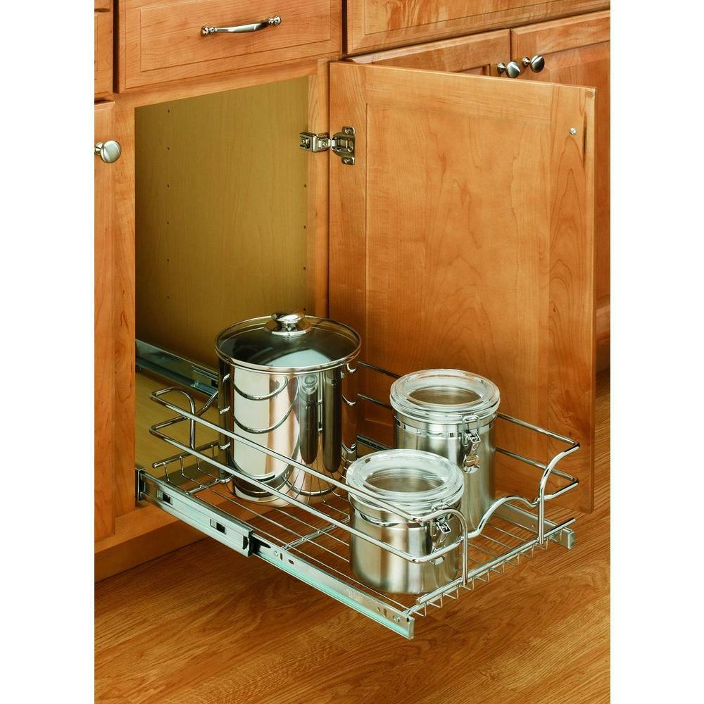 pull out storage for kitchen cabinets rev a shelf 7 in h x 9 in w x 18 in d pull out wire 9181