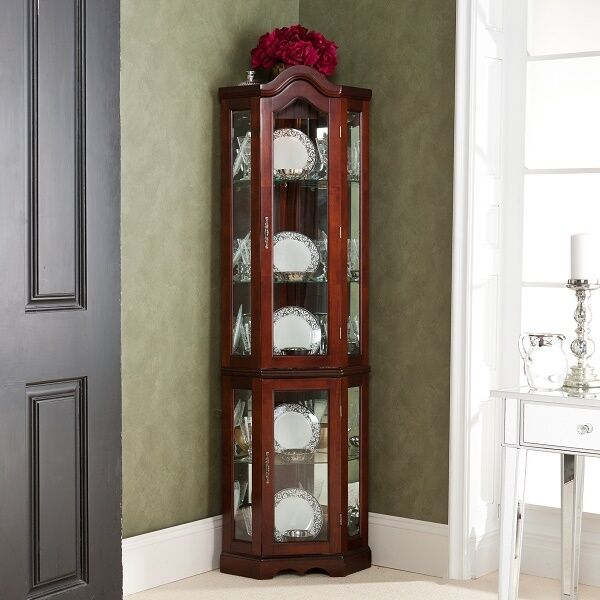 Corner Curio Cabinet Mahogany Finish Lighted China Display