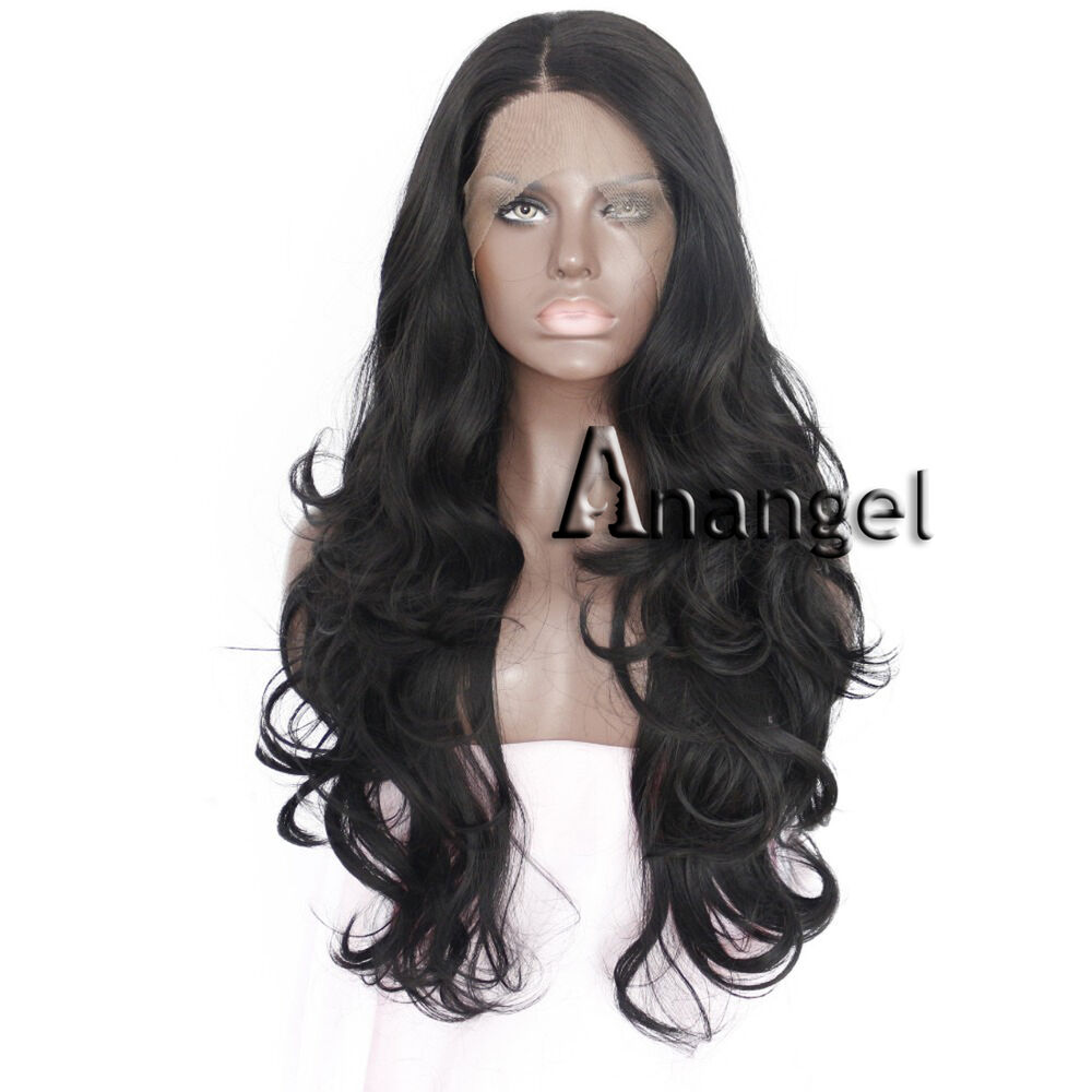 Synthetic Lace Front Wig Long Black Wavy Curly Hair Women