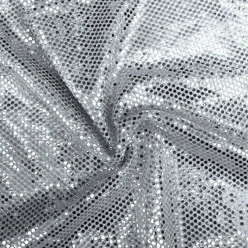 Silver Faux Sequin Knit Fabric Shiny Dot Confetti Sewing ...