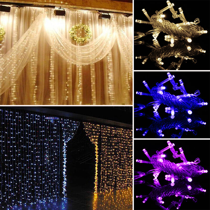 Fixing Christmas Lights To Wall : 300LED String Curtain Fairy Light Christmas Xmas Party Window Wall Hanging Decor eBay