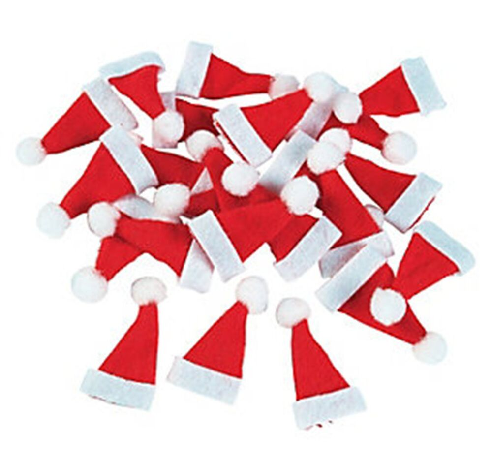 Wholesale lot 48 Mini Santa Hats Craft Christmas Winter ...