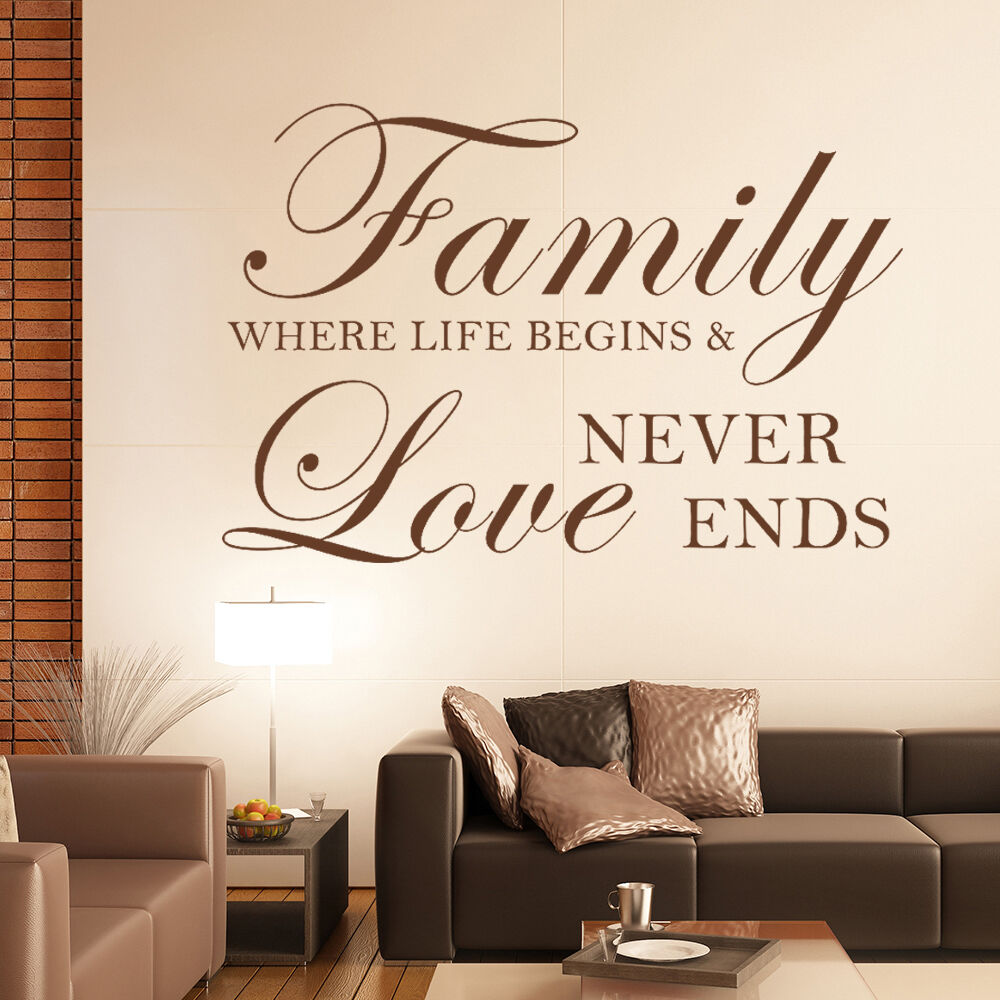 Family Home Decor: Family Where Life Begins Love Wall Sticker Inspirational