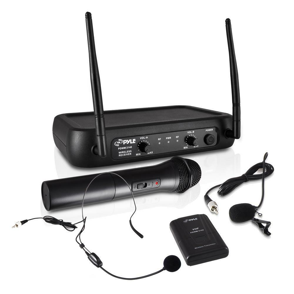 new pyle pdwm2140 vhf wireless microphone system w handheld lavalier headset ebay. Black Bedroom Furniture Sets. Home Design Ideas