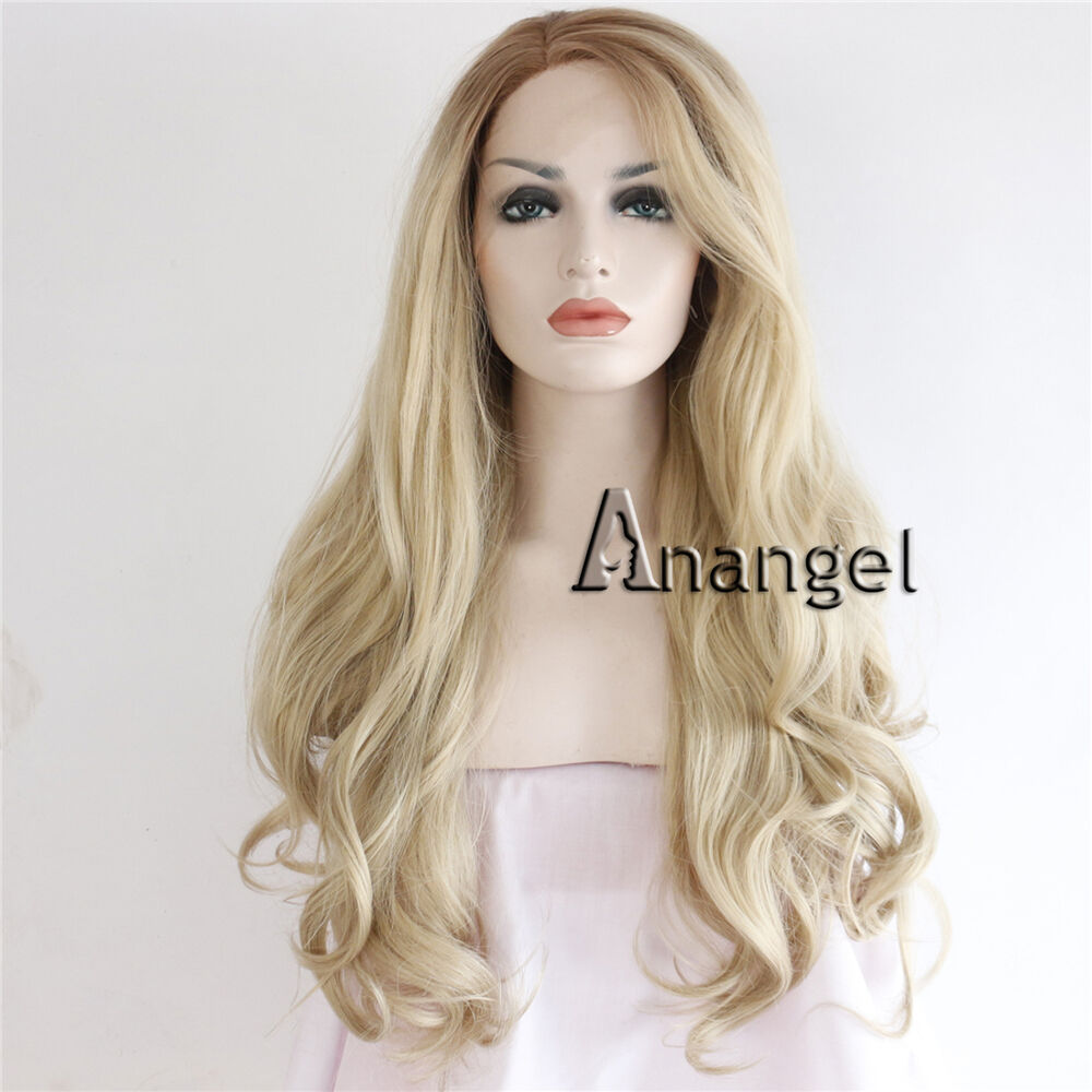 Fashion Synthetic Lace Front Wig Blonde Long Wavy Heat