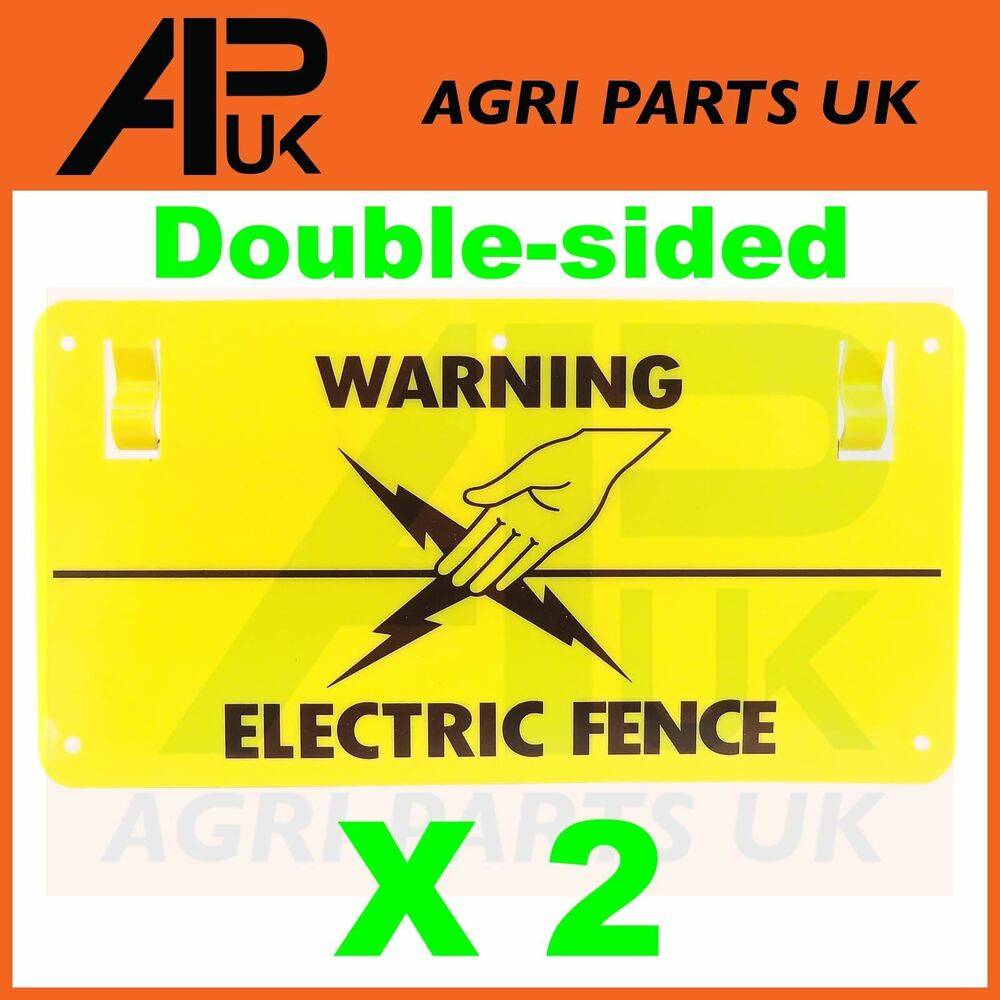 2 X Electric Fence Warning Plastic Sign Double Sided Poly