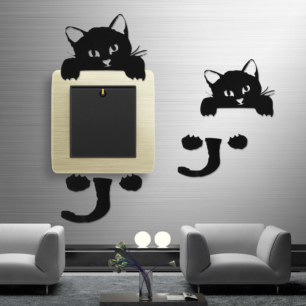 black cute cat wall stickers light switch decor decals art mural nursery room ebay. Black Bedroom Furniture Sets. Home Design Ideas