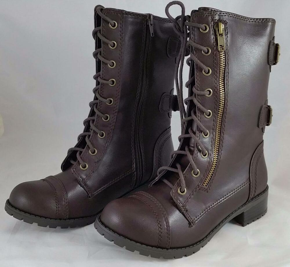 soda dome sa s brown lace up zipper combat style