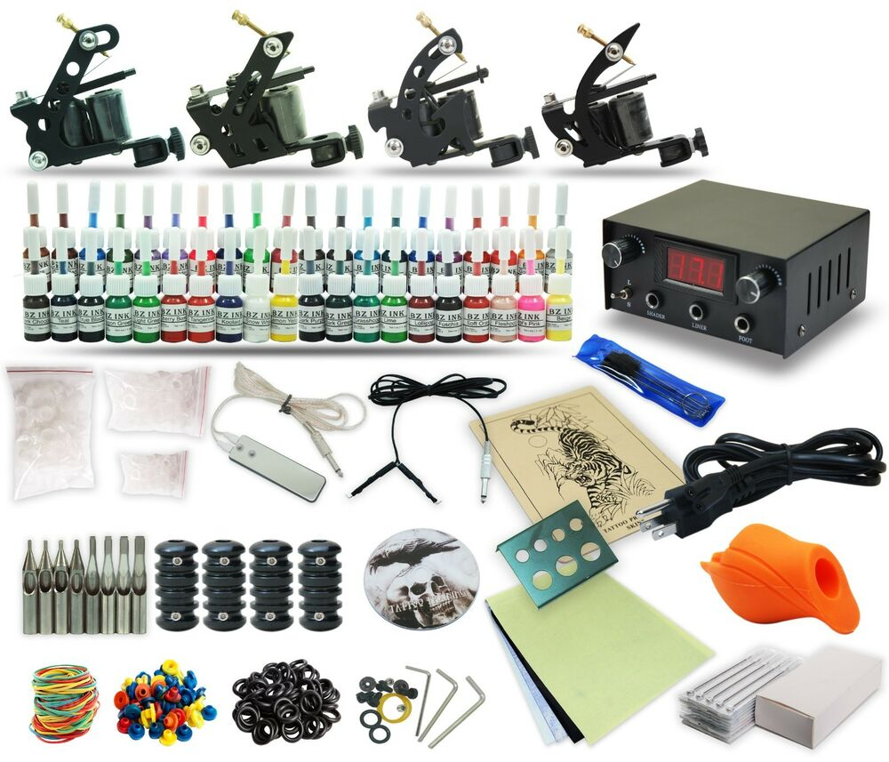 Complete tattoo kit 4 machine gun 40 color inks power for Tattoo supplies ebay