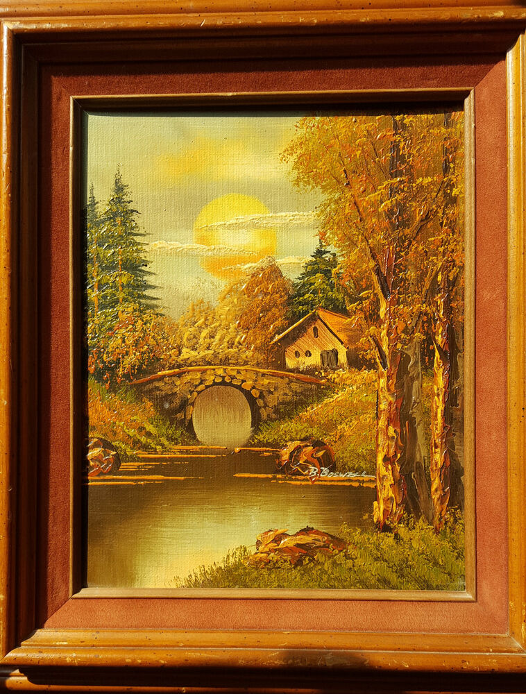 Home Galleries Inc-Vintage Oil Painting Of A Sun Scene ...
