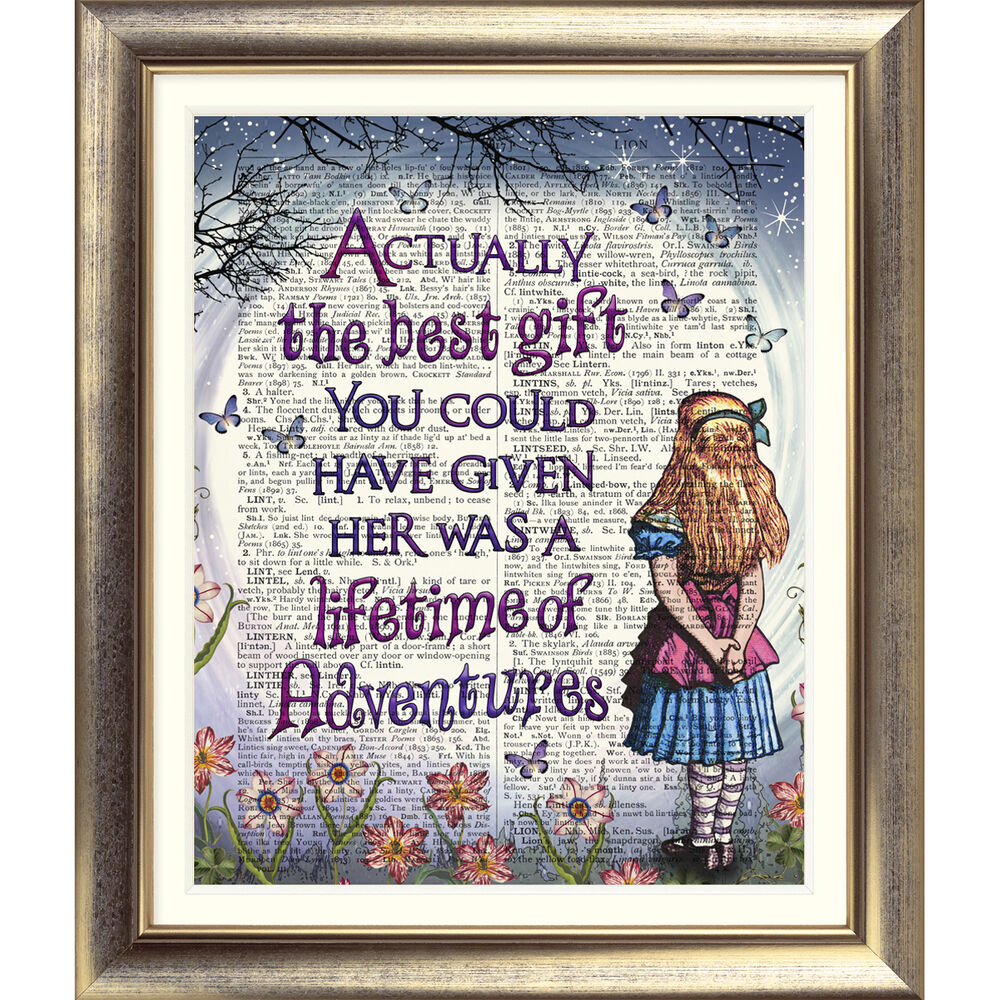 Alice In Wonderland Book Quotes: ART PRINT ORIGINAL ON ANTIQUE BOOK PAGE Vintage Alice In