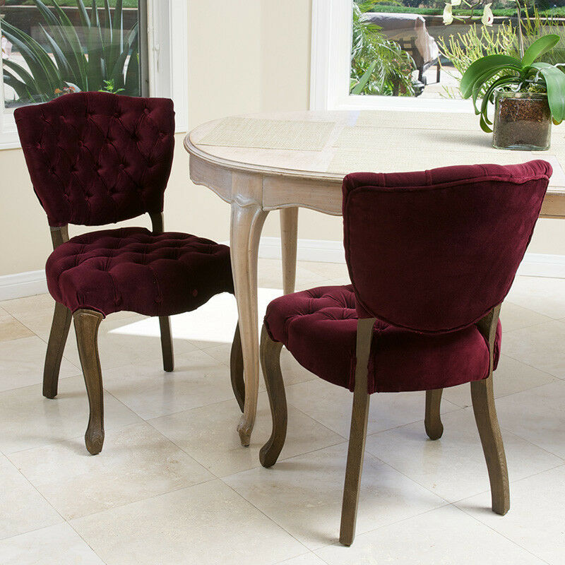 Set of 2 french design weathered oak dining chairs for Dining room velvet chairs