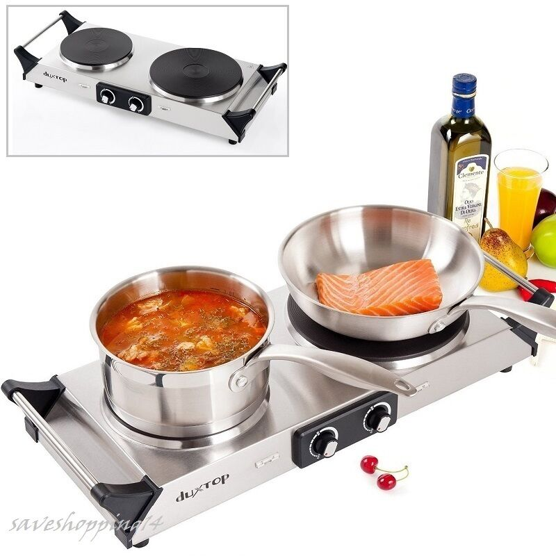 Countertop Electric Stove Top Burner : Double Electric Cast Iron Hot Plate Cooktop Countertop Burner Stove ...