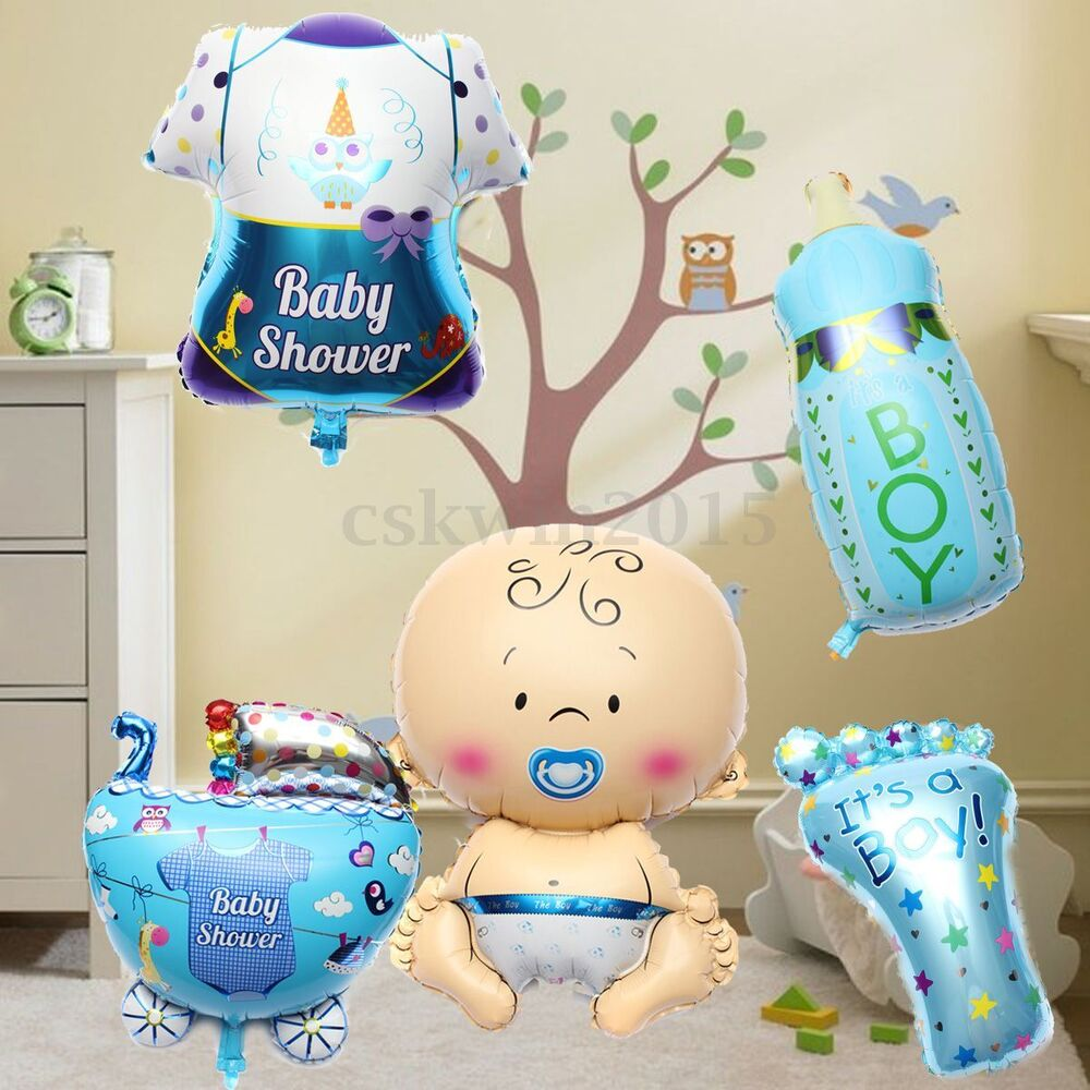 5pcs cute baby boy shower balls helium foil balloons for Baby shower balloons decoration