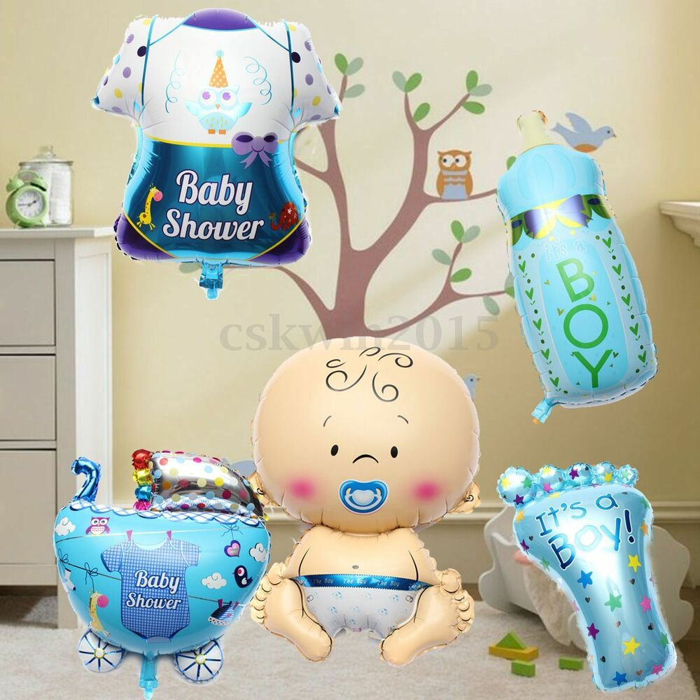 5pcs cute baby boy shower balls helium foil balloons birthday party decorations ebay - Ideeen deco kamer baby boy ...