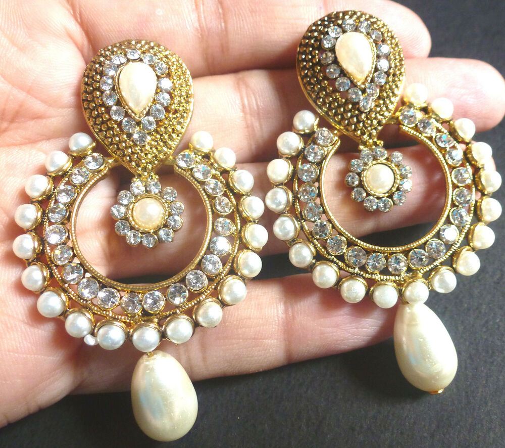 1000 Ideas About Indian Bridal Jewelry Sets On Pinterest: Indian Gold Plated Pearl CZ Drop Kundan Round Earrings