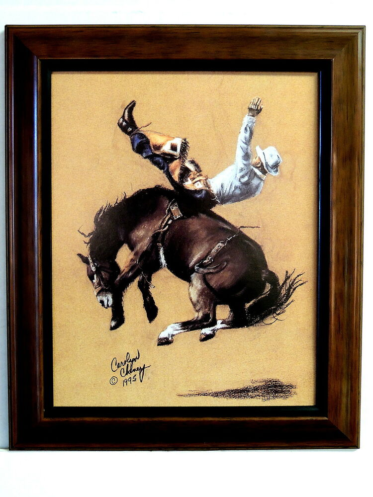 western cowboy picture bronco riding rodeo cowboy framed