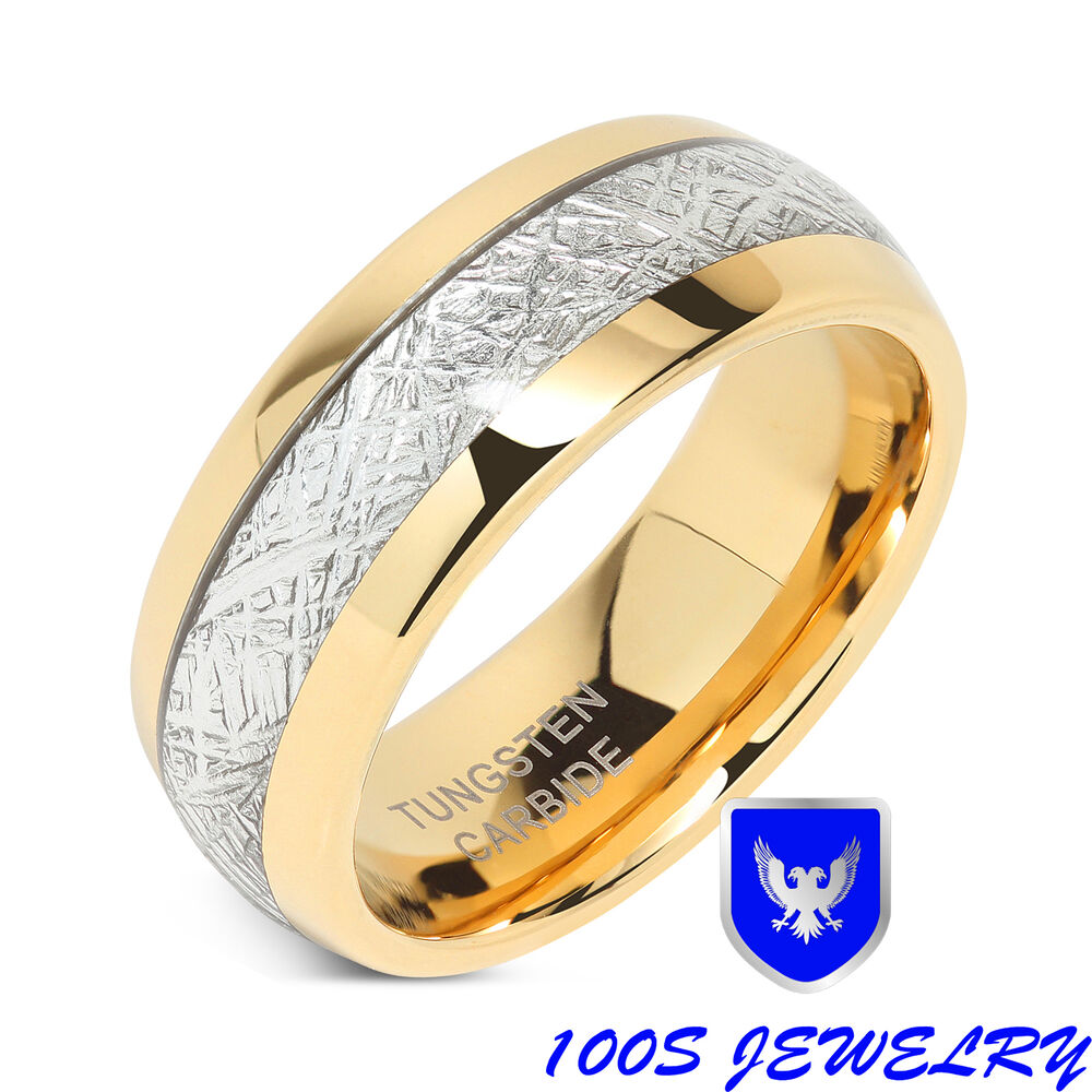 8mm mens amp womens tungsten carbide ring meteorite inlay