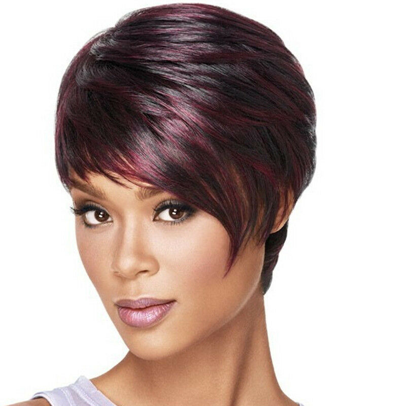 Women Short pixie cut style wig with bangs straight Synthetic Costume ...