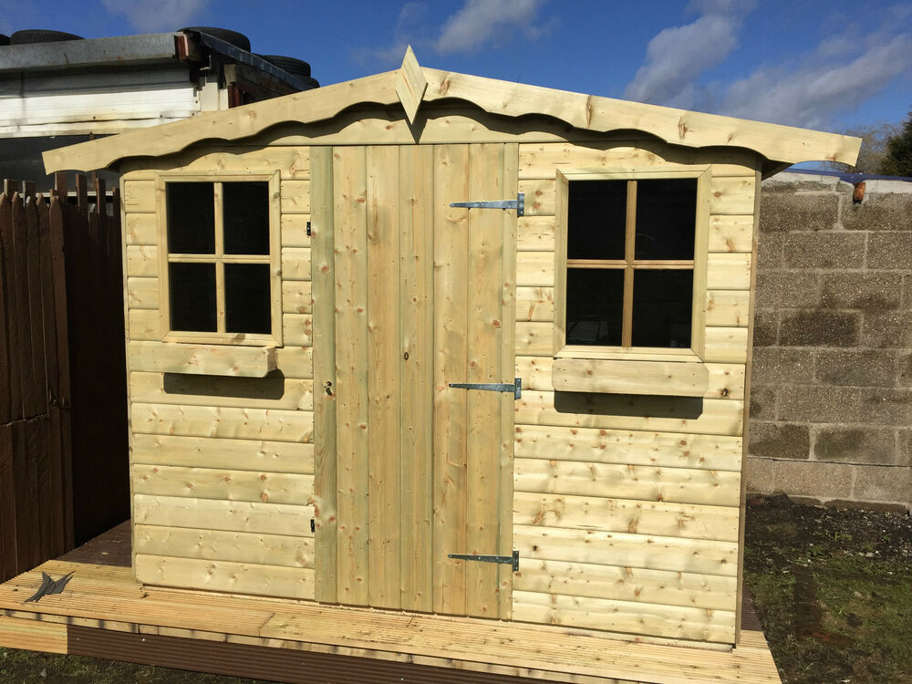 T g garden sheds storage hut timber 8x10 summerhouse for Bathroom t g cladding