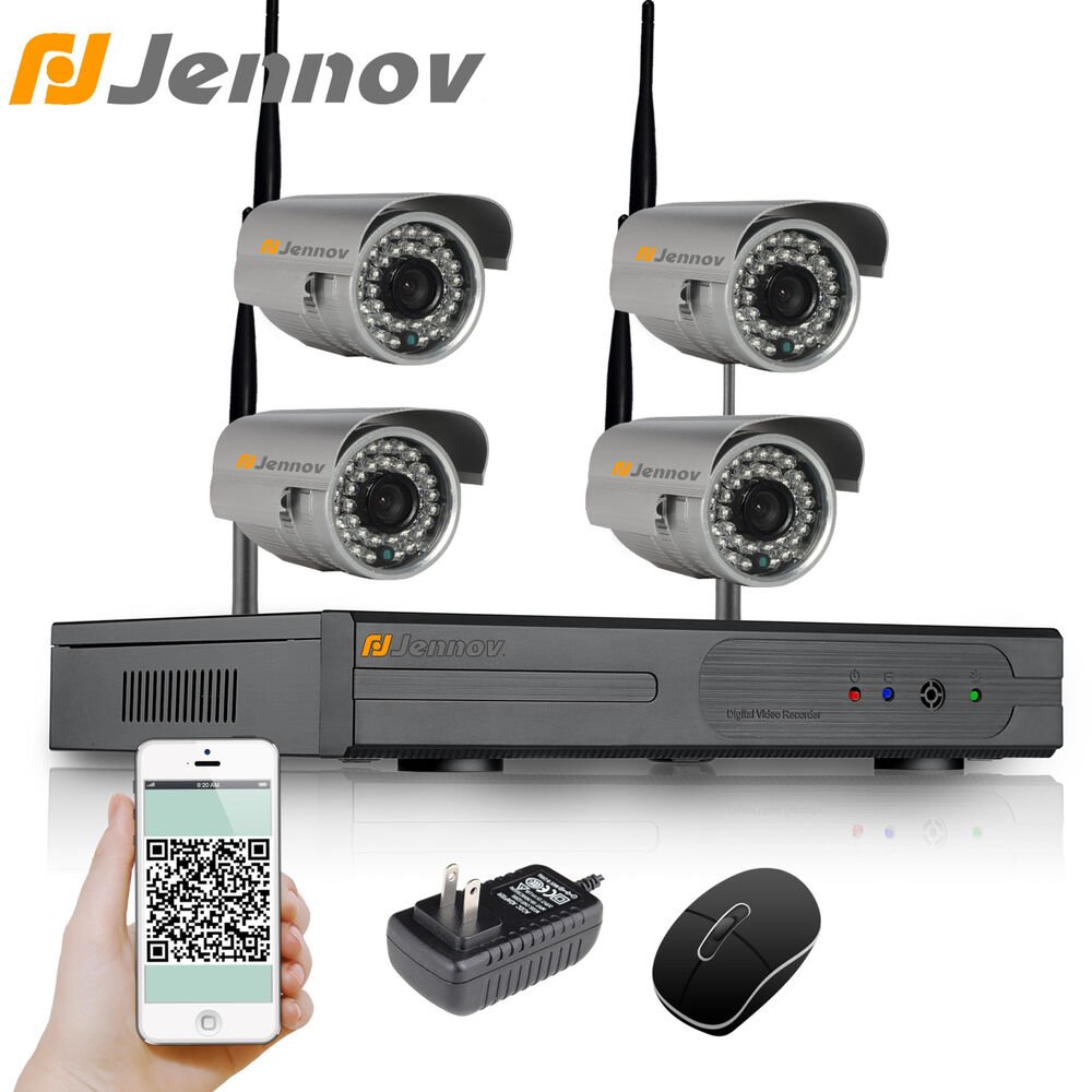 jennov 4ch nvr video surveillance outdoor ir cctv security wifi ip camera system ebay. Black Bedroom Furniture Sets. Home Design Ideas
