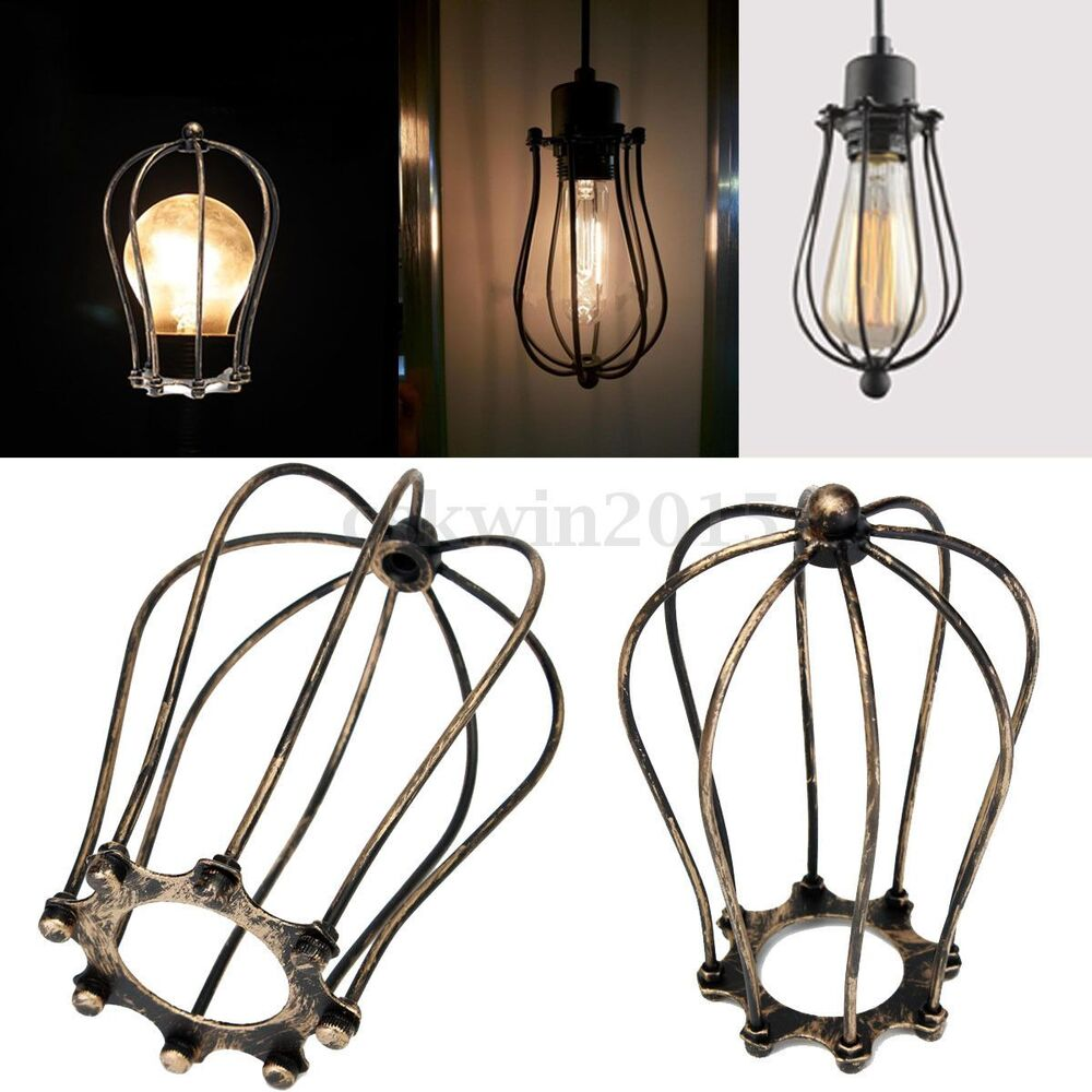1pc antique brass iron wire bulb cage lamp guard shade vintage trouble light. Black Bedroom Furniture Sets. Home Design Ideas
