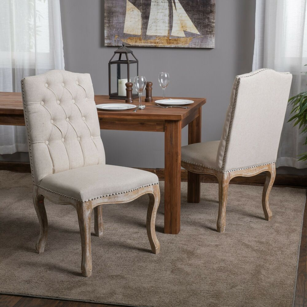 Set Of 2 Dining Chairs: (Set Of 2) French Vintage Design Weathered Wood Dining