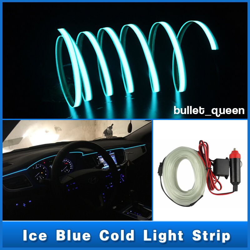 3m ice blue el wire car interior unique decor fluorescent neon cold light strip ebay. Black Bedroom Furniture Sets. Home Design Ideas