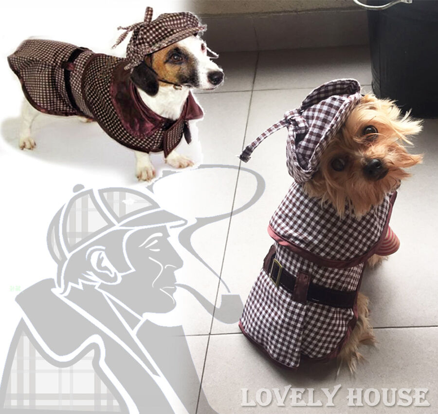 Pet Costumes Dog Cat Sherlock Hound Outfit Clothes