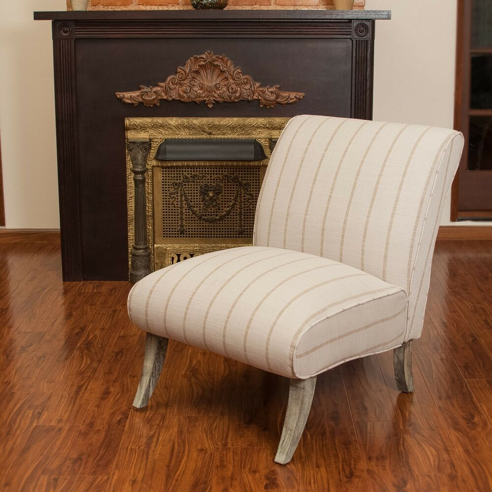 Contemporary Beige Striped Fabric Upholstered Armless