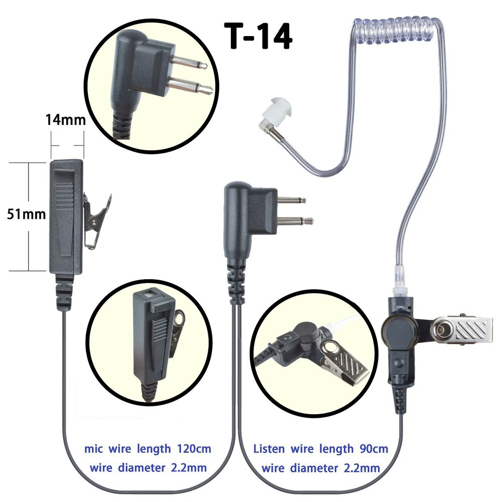 2 wire headset earphone for motorola cp140 ecp100 cls1413 a11 two way radio ebay