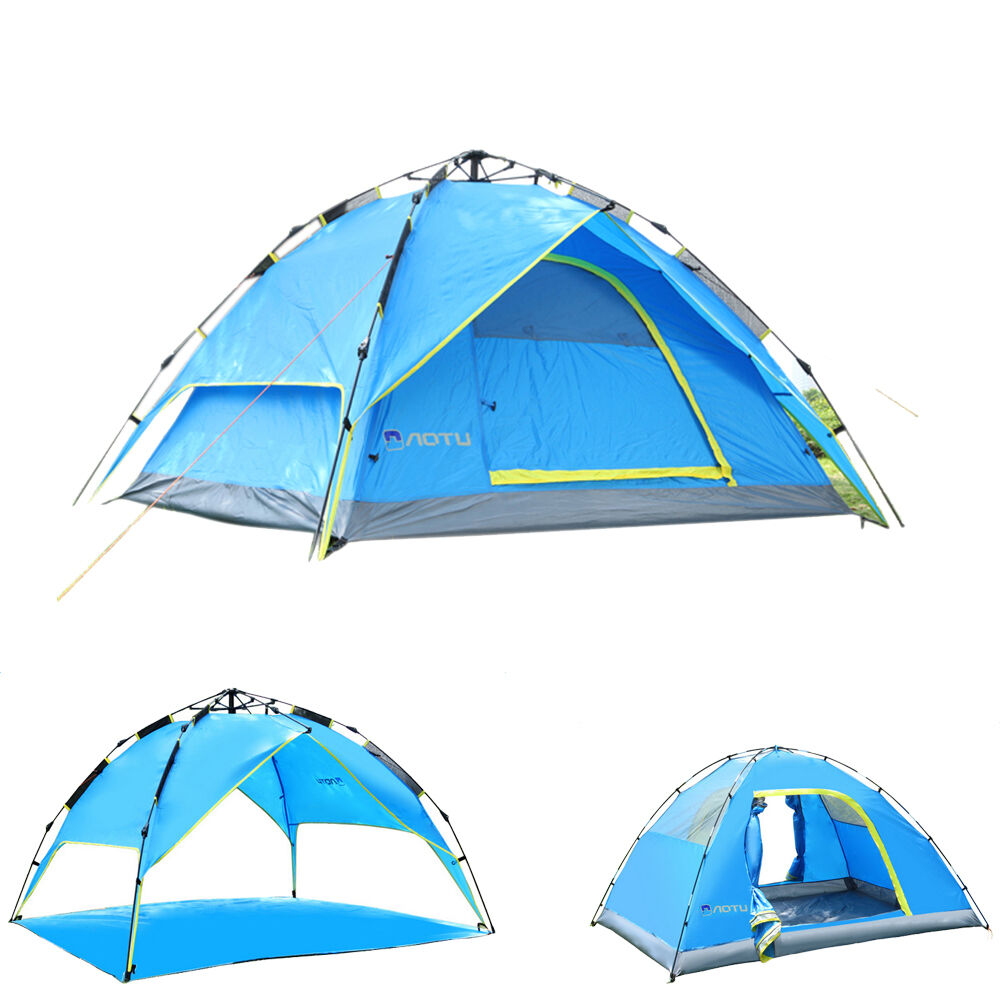 4 season 4 person camping tent 2 layer instant pop up tent windproof outdoor ebay. Black Bedroom Furniture Sets. Home Design Ideas
