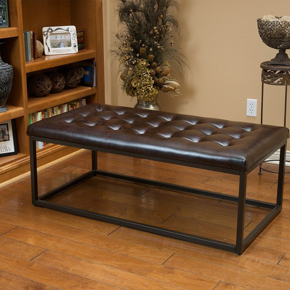 Sleek Modern Design Metal Coffee Table W Button Tufted Brown Leather Top Ebay