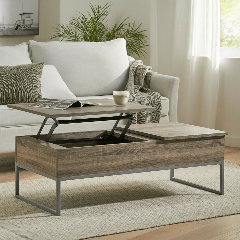 Rustic Modern Natural Brown Wood Lift Top Storage Coffee Table 637162665183 Ebay