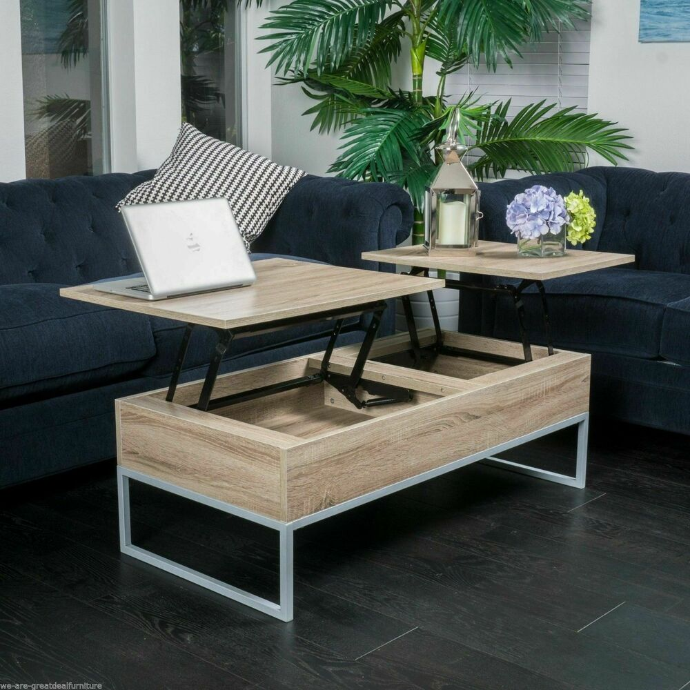 Computer Coffee Table Rustic Modern Natural Brown Wood Lift Top Storage Coffee Table Ebay