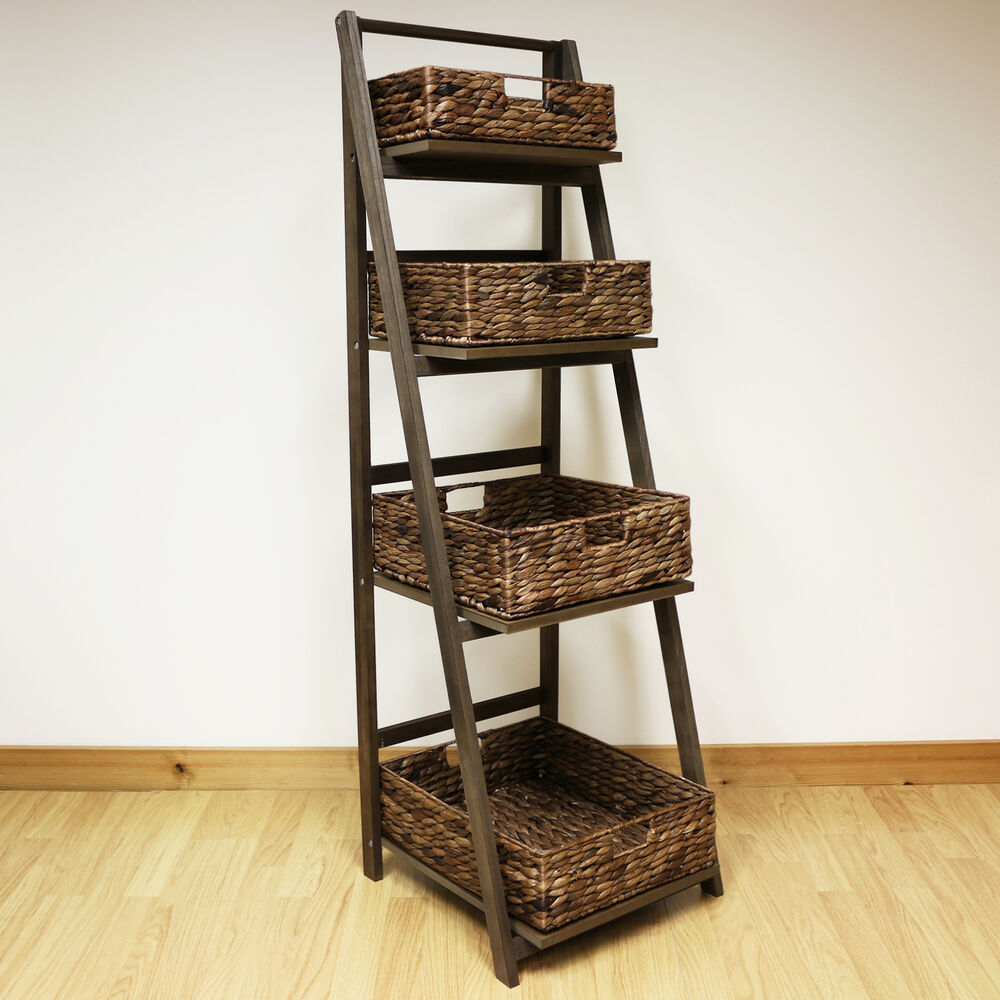 Dark Brown 4 Tier Wooden Ladder Shelf Display Unit