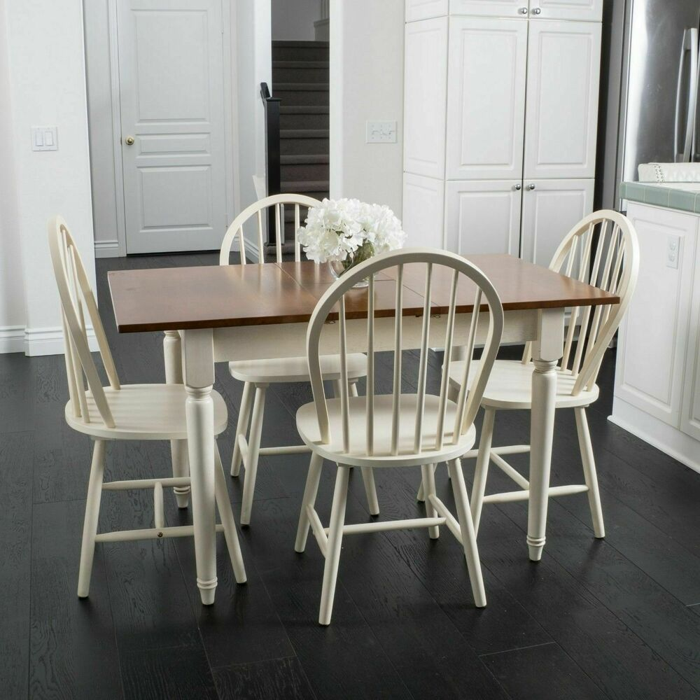 Farmhouse Design 5 Piece Spindle Wood Dining Set With Leaf