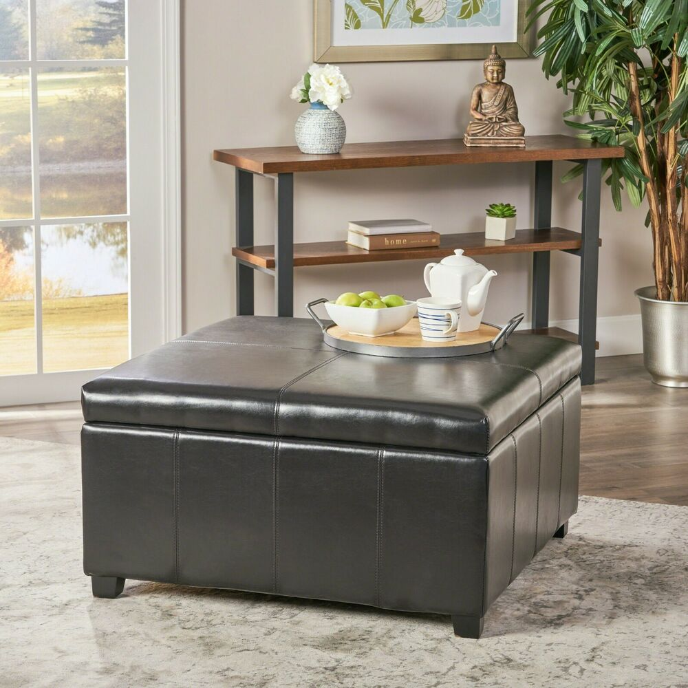 Merihill Coffee Table With Ottoman: Large Espresso Leather Storage Ottoman Coffee Table