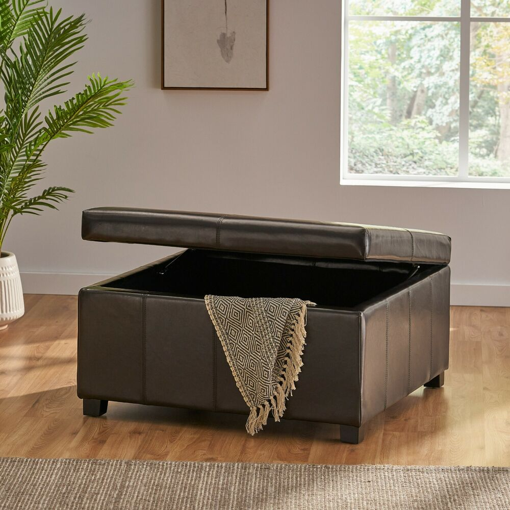 Large espresso leather storage ottoman coffee table ebay Red leather ottoman coffee table
