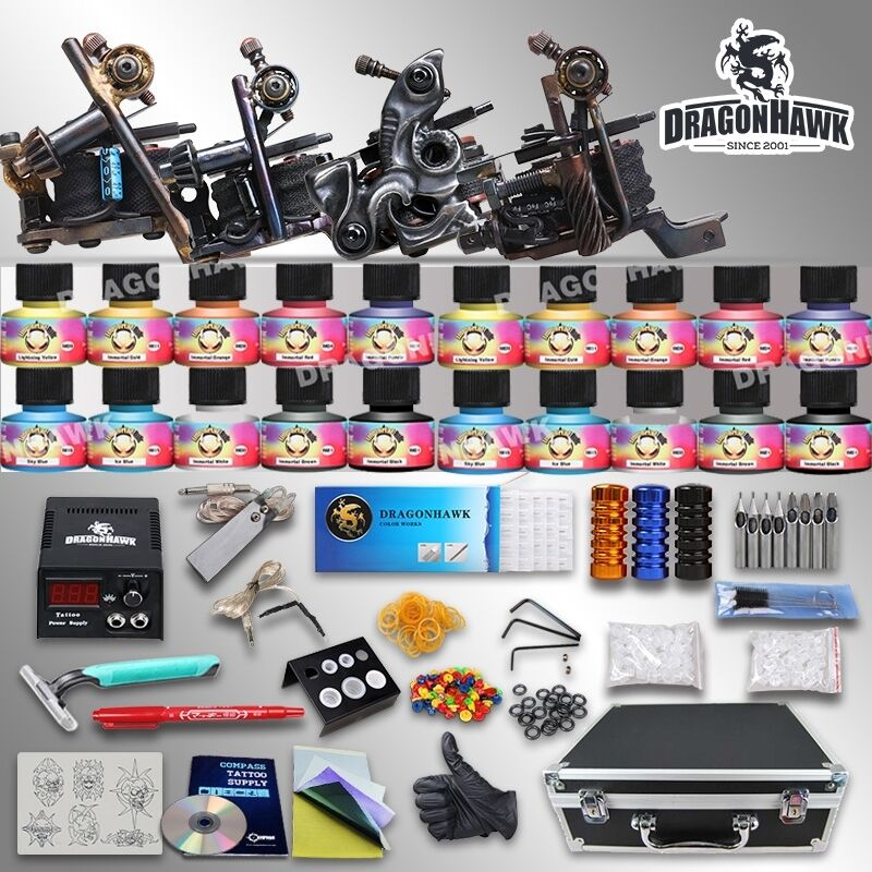 Tattoo kit 4 top machine gun usa color ink power supply for Ebay tattoo kit