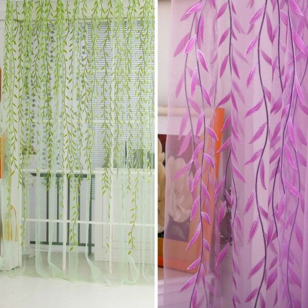 beauty room leaf pattern voile window curtain sheer panel dr