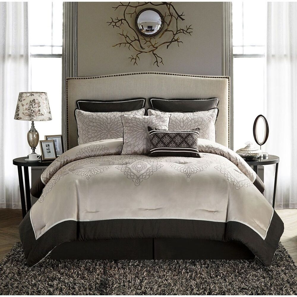 King Size Comforter Set Beige Brown Elegant 8-piece