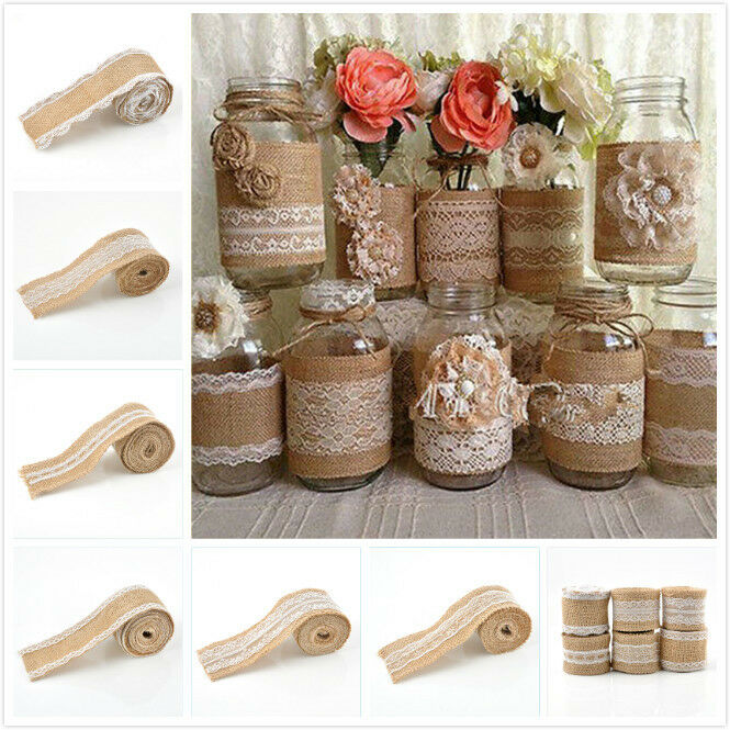 Vintage Jute Burlap Hessian Ribbon Lace Trim Rustic Wedding Party Decorations Ebay