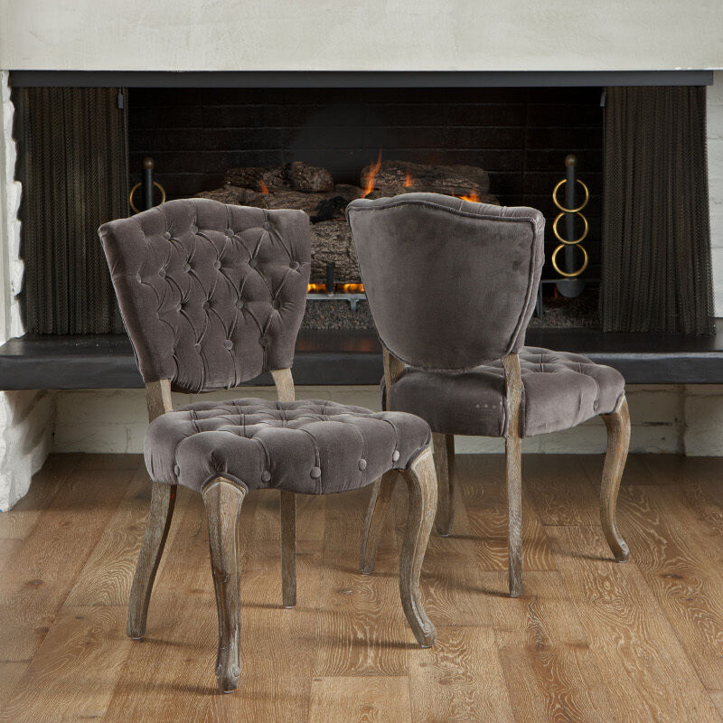 Leahlyn Reddish Brown Arm Chair Set Of 2: Set Of 2 French Design Weathered Oak Dining Chairs