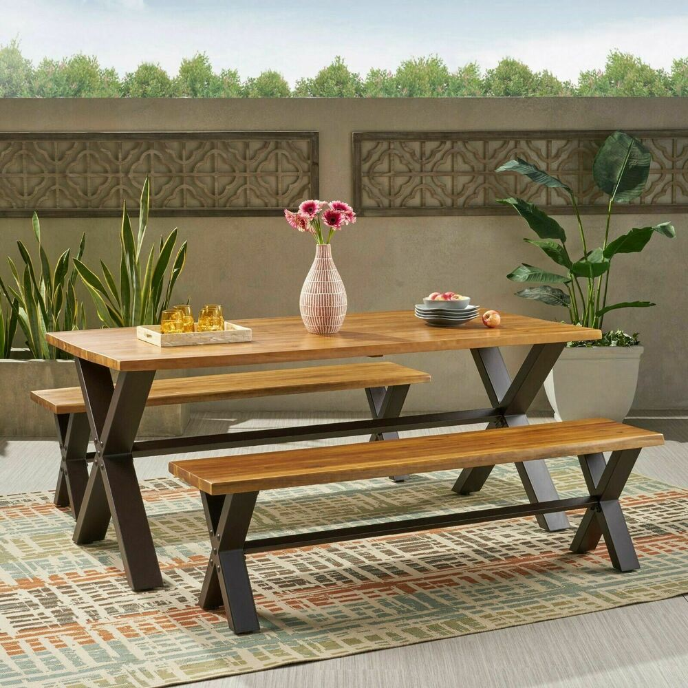 Denise Austin Home Irving Outdoor 3 Piece Acacia Wood