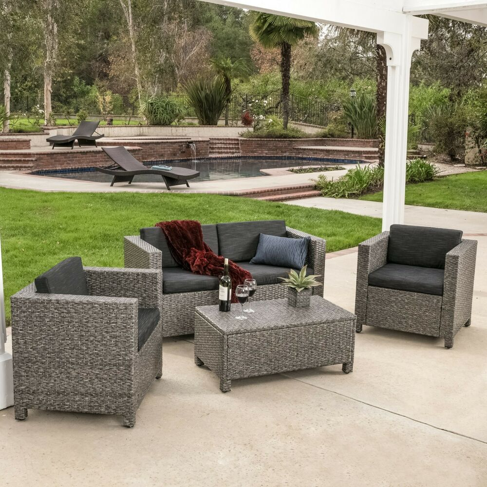Outdoor patio furniture grey pe wicker 4pcs luxury sofa for Lawn patio furniture