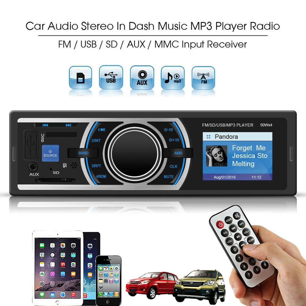 Car Stereo Audio Player In-Dash Aux Input Receiver With