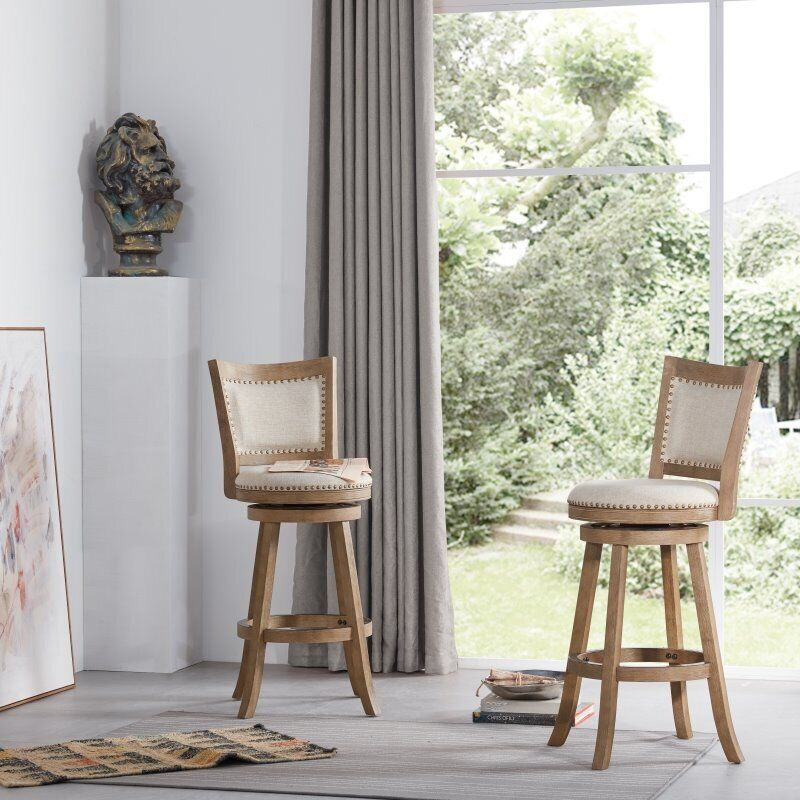 29 Quot Melrose Wire Brush Swivel Stool In Driftwood Gray Bar