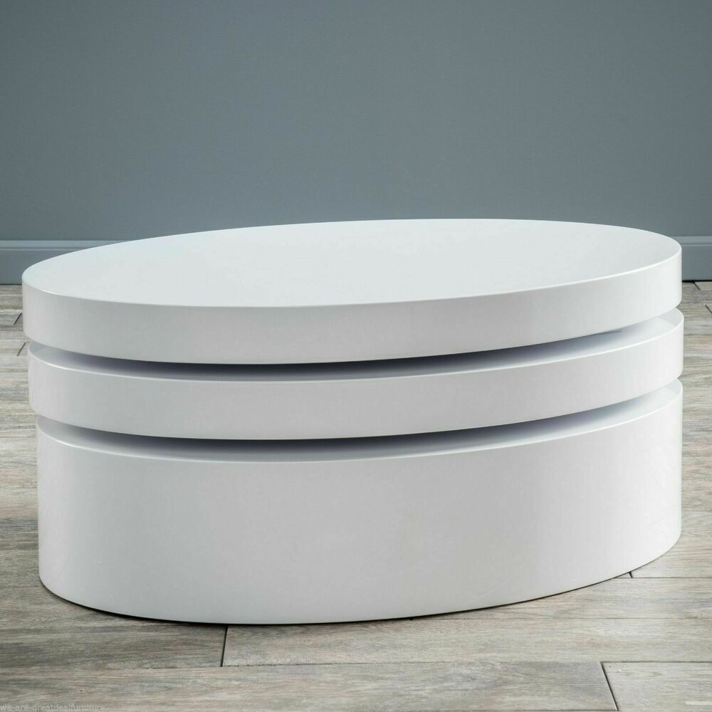 Modern Oval White High Gloss Glossy Lacquer Coffee Table: Modern Design Oval White Hi-Gloss Swivel Rotating Coffee